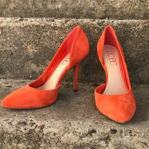 BCBG size 8.5 orange suede pumps